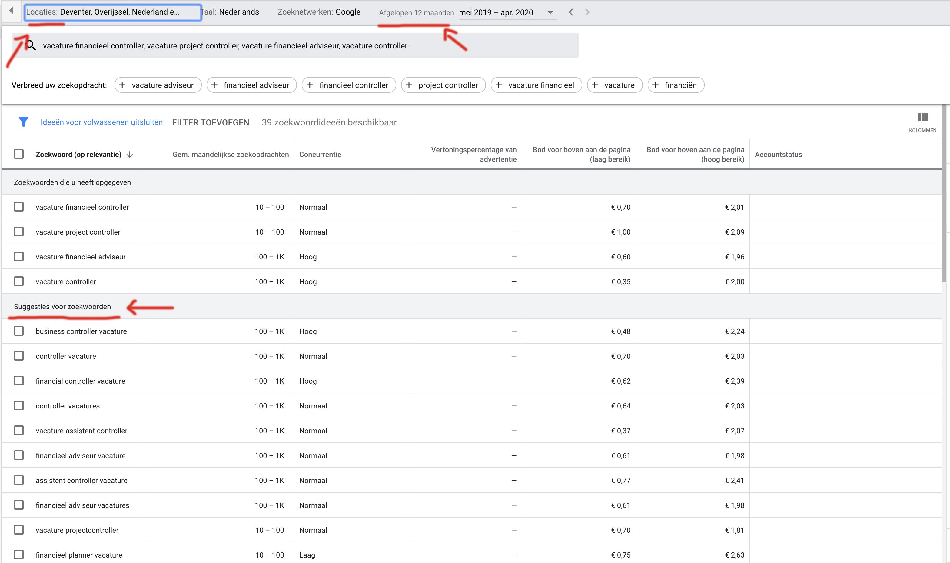 Google Zoekwoordplanner demo functietitel stap 5